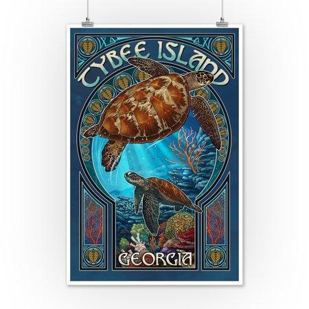 Tybee Island Georgia Sea Turtle Art Nouveau Lantern Press Poster 12x18 Print Wall Decor Travel