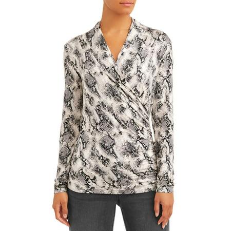 Sofia Jeans Faux Wrap Front V-Neck Knit Top Women's (Animal Snake Print)