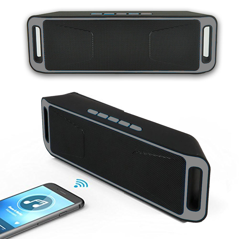Indigi® Wireless Bluetooth Speaker Sound System Portable Soundbar FM Radio Boombox -Grey