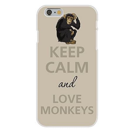 Apple iPhone 6+ (Plus) Custom Case White Plastic Snap On - Keep Calm and Love Monkey w/ Scratching