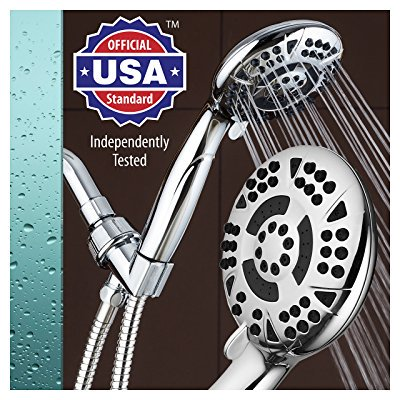 American Standard Shower Hose - AquaDance High Pressure 6-Setting 4.15 Chrome Face Hand Held Shower Head with Hose for Ultimate Shower Experience! Officially Independently Tested to Meet Strict US Quality & Performance Standards