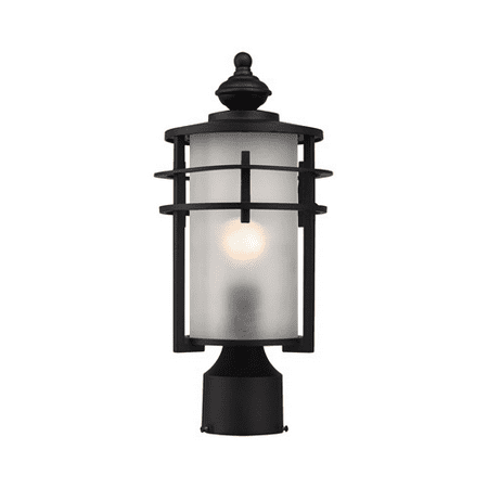 Outdoor Post 1 Light With Matte Black Finish Frosted Glass Medium Base 15 inch 100 Watts - World of Lamp