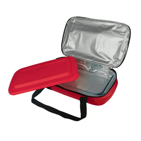 Le Regalo Glass Casserole with Insulated Carry Bag, Ideal for Picnic, Potluck, Hiking, Beach Day Trip, Retains Hot and Cold Food Temperature