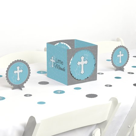 Little Miracle Boy Blue & Gray Cross - Baptism or Baby Shower Centerpiece and Table Decoration Kit - Cross Centerpieces