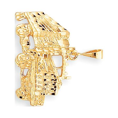 Leslies Fine Jewelry Designer 10k Yellow Gold Solid Diamond-cut Semi with Trailer (31x30mm) Pendant Gift