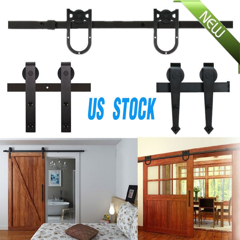 8ft Rustic Sliding Barn Wood Door Sliding Track Hardware Bigbarn Wheel Kit