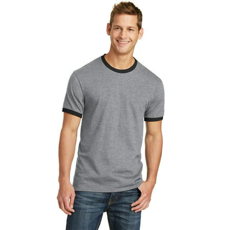 Port Company PC54R Core Cotton Ringer Tee, Athletic Heather/ Jet Black, -