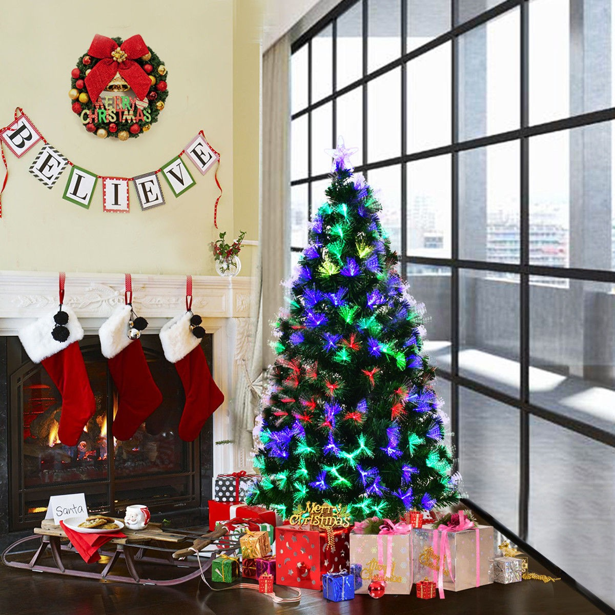 7' Fiber Optic Artificial Christmas Tree w/ LED Lights ...