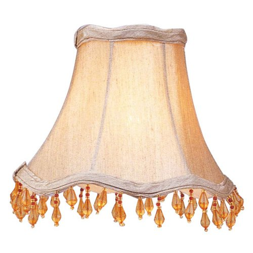 Livex S141 Scallop Bell Clip Chandelier Shade with Amber Beads in Champagne