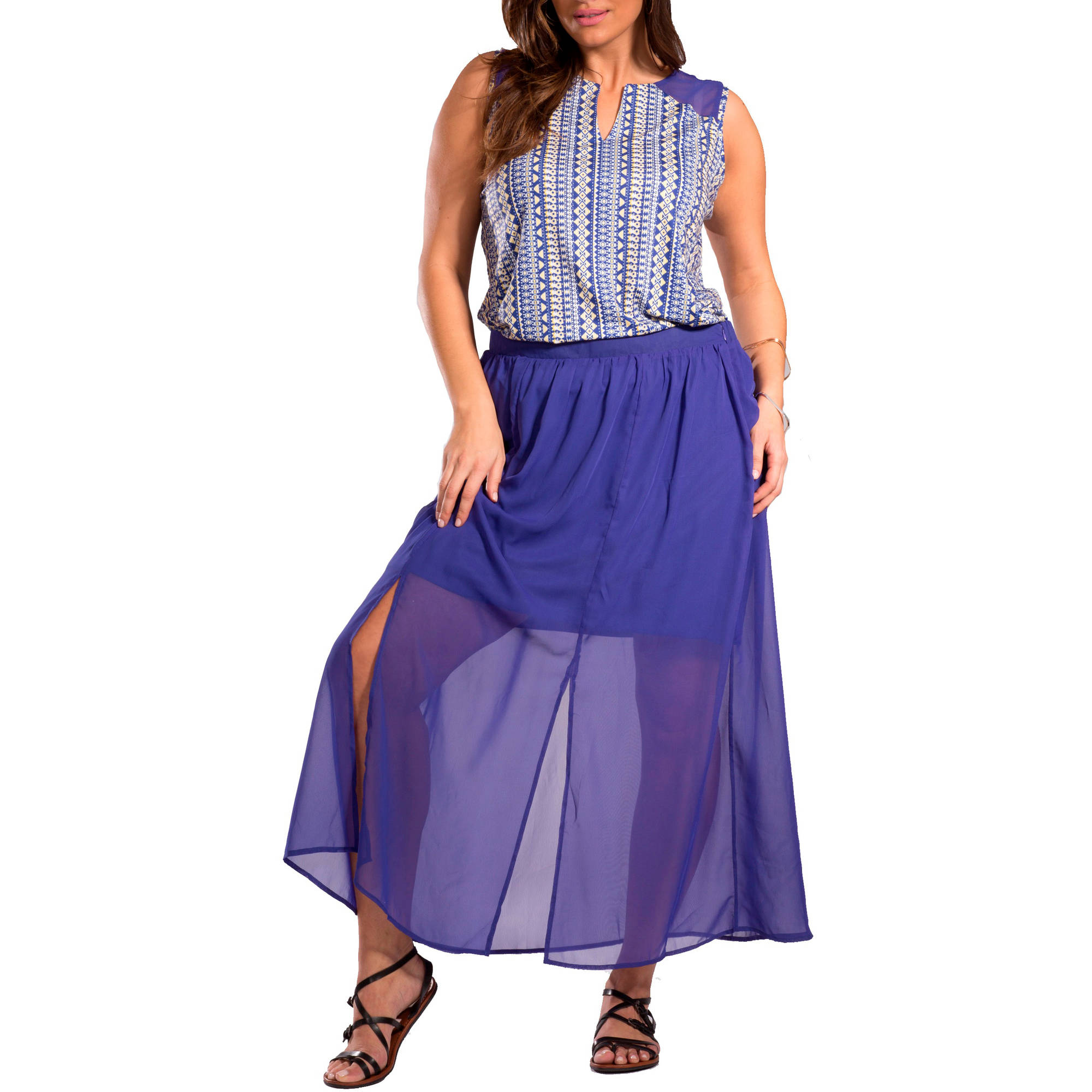 Plus Moda Women's Plus-Size Pop Tribal Maxi Skirt with Side Slits