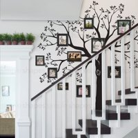 Staircase Family Tree Wall Decal - Black - Standard 109.5-Inch w x 105-Inch h