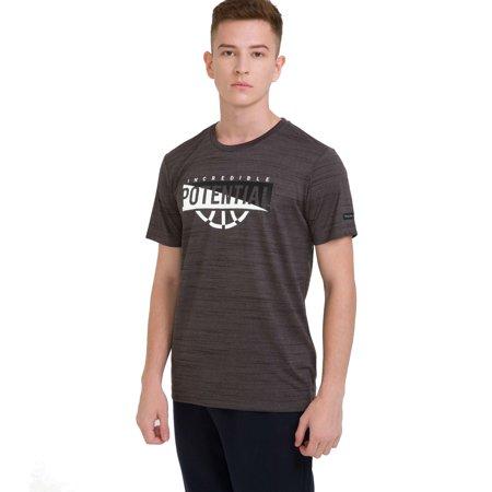 Life Print Tee - bossini Life Mens Ztay Dry Short Sleeve Print Quick Dry Tee Shirt M,US Size 38 Grey