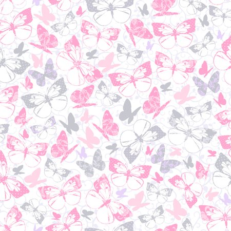- Waverly Inspirations BUTTERFLY CARNATION-SILVER 100% Cotton Print Fabric 44'' Wide, 140 Gsm, Quilt Crafts Cut By The Yard
