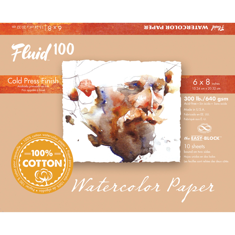 Global Art Fluid 100 Watercolor Paper Block, Cold Press, 6in x 8in, 10 Sheets/Block