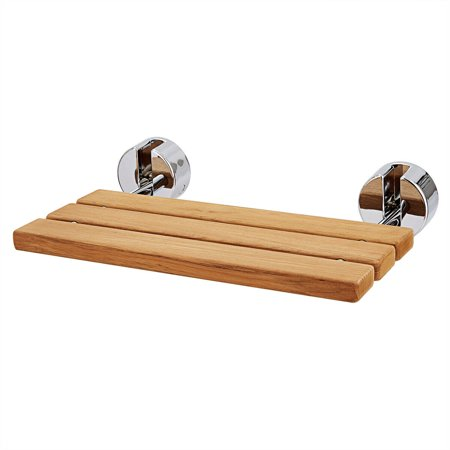 gymax 20'' wall mounted teak wood folding shower bath seat