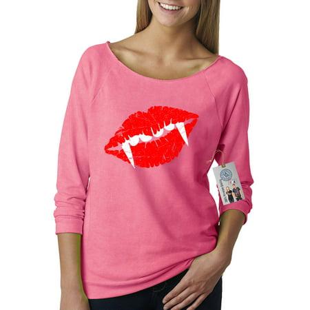 Draculas Lips Teeth Halloween Shirt Off The Shoulder French Terry Top (Halloween Ellen G White)