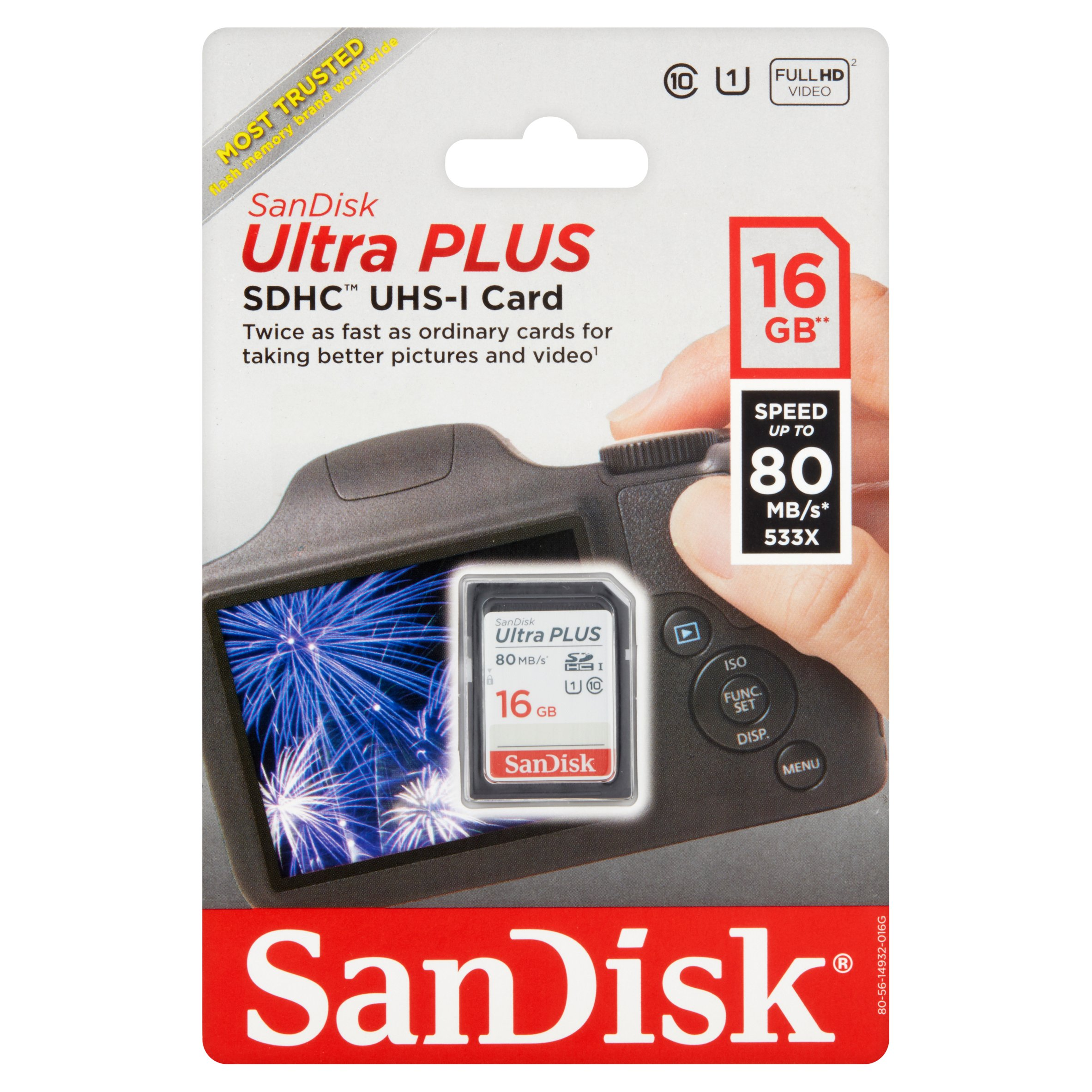 SanDisk Ultra PLUS UHS-1 16GB SD Card, Class 10, Camera Bar