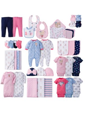 d03e55475 Gerber Baby Shower Layette Set, Burp, and Bath Bundle, 40pc (Baby Girls