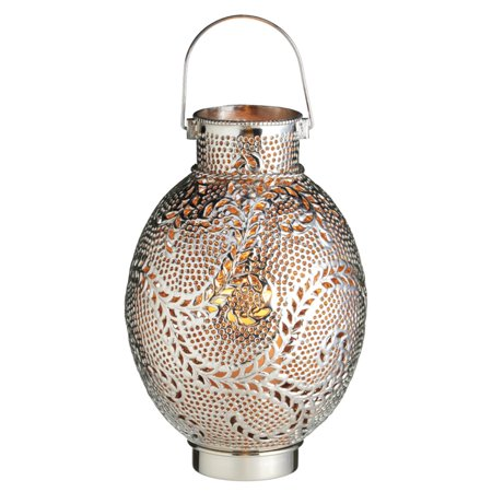 "14"" VedaHome Silver and Amber Swirl Hand Hammered Pillar Candle Lantern"