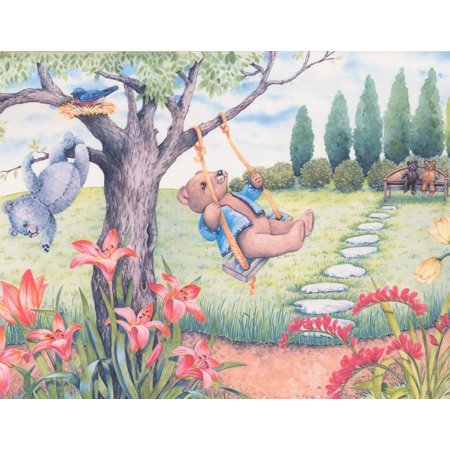 Teddy Bears Playing in the Garden Extra Wide Wallpaper Border for Kids Bedroom Playroom, Roll 15' x 12