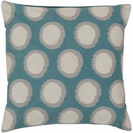 Art of Knot Amory Hand Crafted Satin Embroidery Circles Linen Decorative Pillow with Poly Filler, Teal