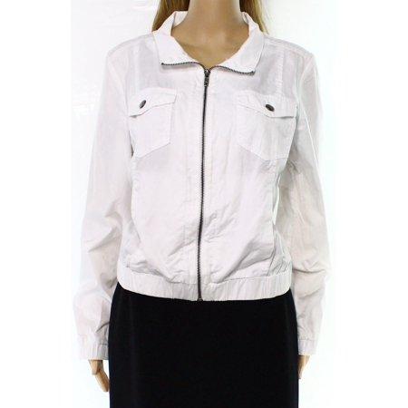 Nordstrom Rack New White Womens Size Small S Full Zip Bomber Jacket