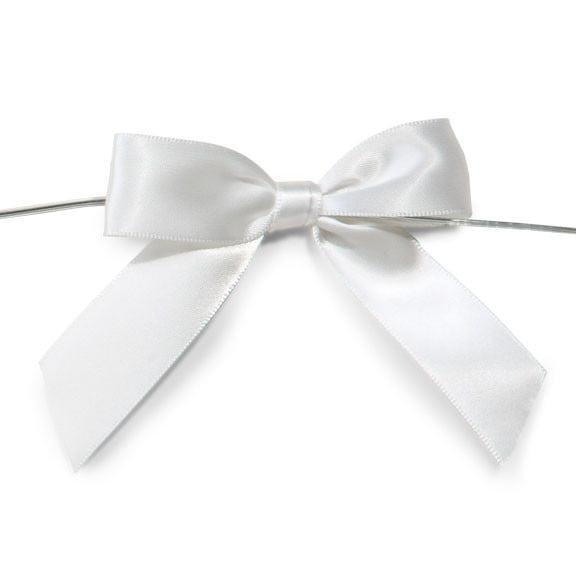 Pre-Tied Satin Bows, 7/8-Inch, 12-Piece, White