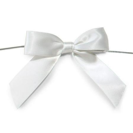 Pre-Tied Satin Bows, 7/8-Inch, 12-Piece, White (Pretied Bow)