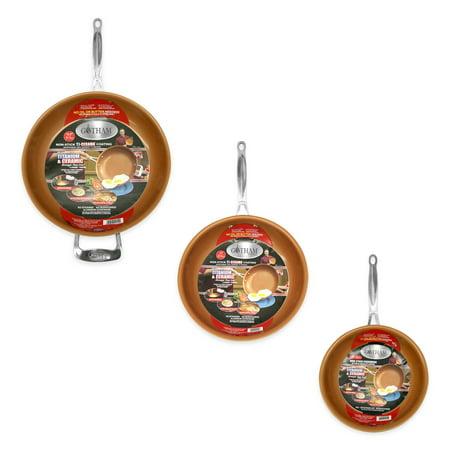 Gotham Steel 3 Piece Fry Pan Set - 9.5u0022, 11u0022 & 12.5u0022 with Ultra Nonstick Ceramic Copper Coating, Dishwasher, Metal Utensil & Oven Safe