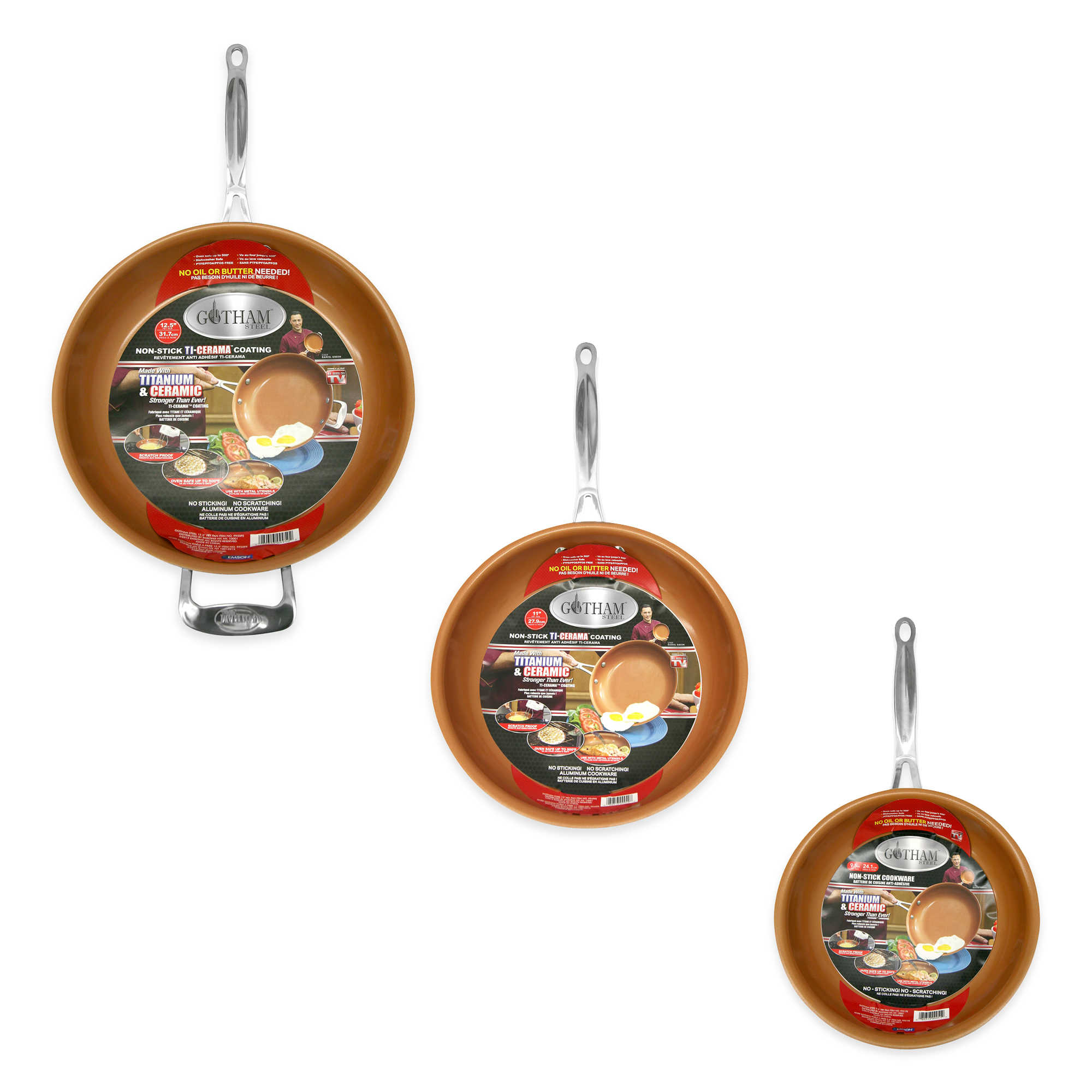 "Gotham Steel 3-Piece Nonstick Frying Pan Set, 3 Sizes - 9.5"", 11"" and 12.5"", As Seen on TV!"