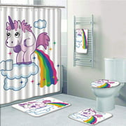 PRTAU Funny Unicorn Pooping Rainbow Over Clouds Creative Kids Girls Fairy Tale Fantasy Cartoon 5 Piece Bathroom Set Shower Curtain Bath Towel Bath Rug Contour Mat and Toilet Lid Cover