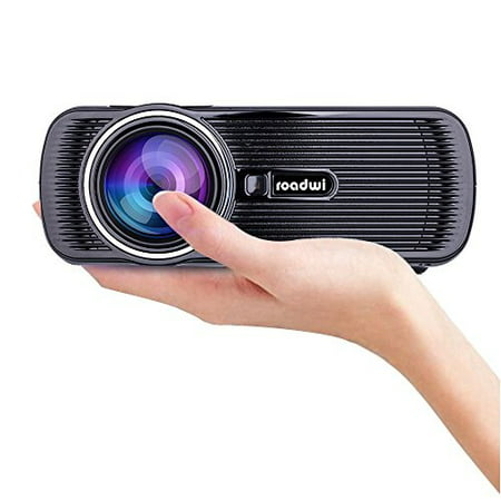 Roadwi Video Mini Portable Projector, 1500 lumens, Support 1080P HDMI AV VGA USB SD TV Multimedia Home Theater Games Family Movie Night Party (Best Travel Projector 2019)