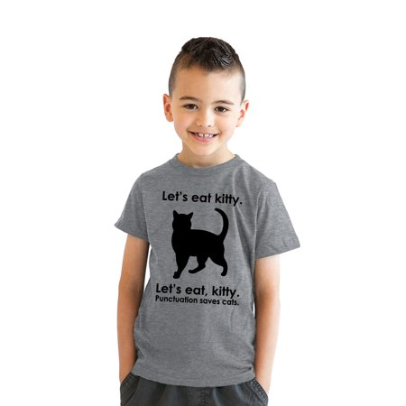 8a532a69 crazy-dog-t-shirts - crazy dog tshirts - kids' let's eat kitty t shirt funny  youth punctuation shirt cat tee - Walmart.com
