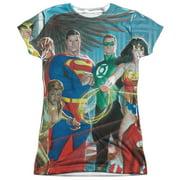 Jla - League Of Heroes - Juniors Cap Sleeve Shirt - Small