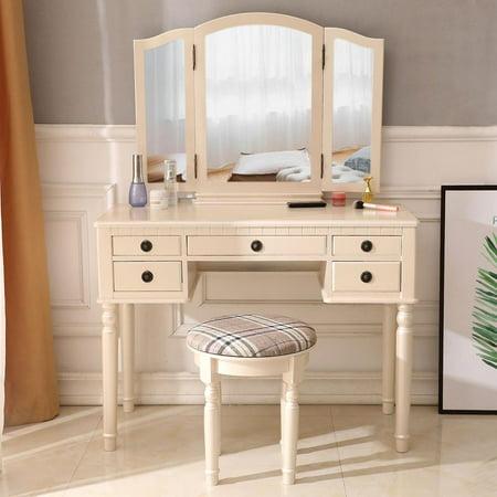 Zimtown Vanity Makeup Dressing Table Set w/Stool 5 Drawer & Tri-Folding Mirror Jewelry Wood Desk Furniture,Fluorescent Pink ()