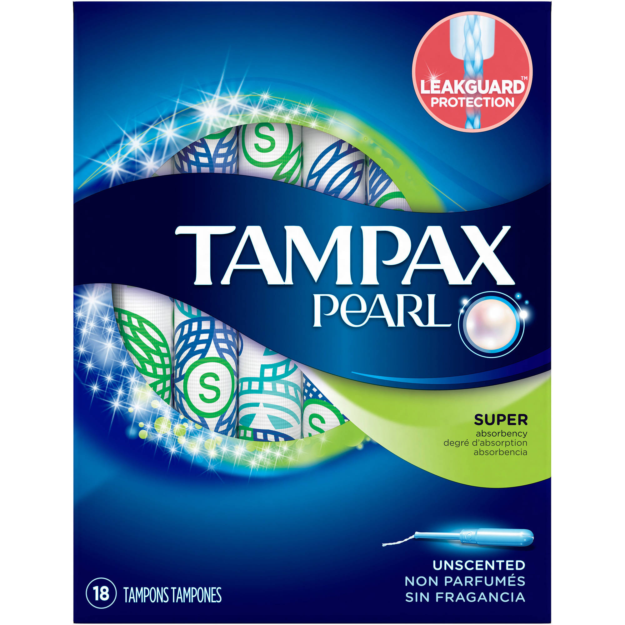 Tampax Pearl Plastic Super Absorbency Unscented Tampons, 18 count