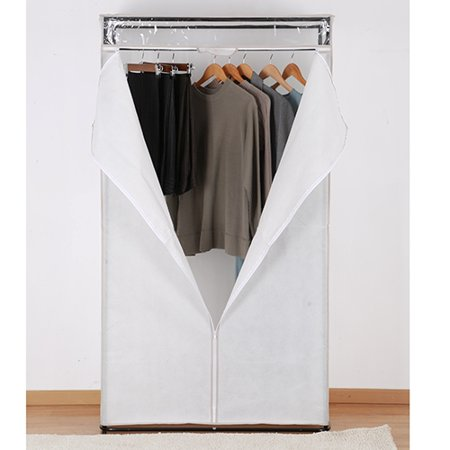 Mainstays Clothes Closet with White Cover and Grey Pumice Trim