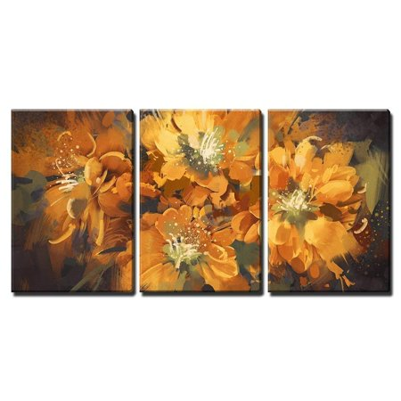 """wall26 - 3 Piece Canvas Wall Art - Illustration - Digital Painting of Colorful Abstract Flowers with Grunge Texture - Modern Home Decor Stretched and Framed Ready to Hang - 16""""x24""""x3 Panels"""