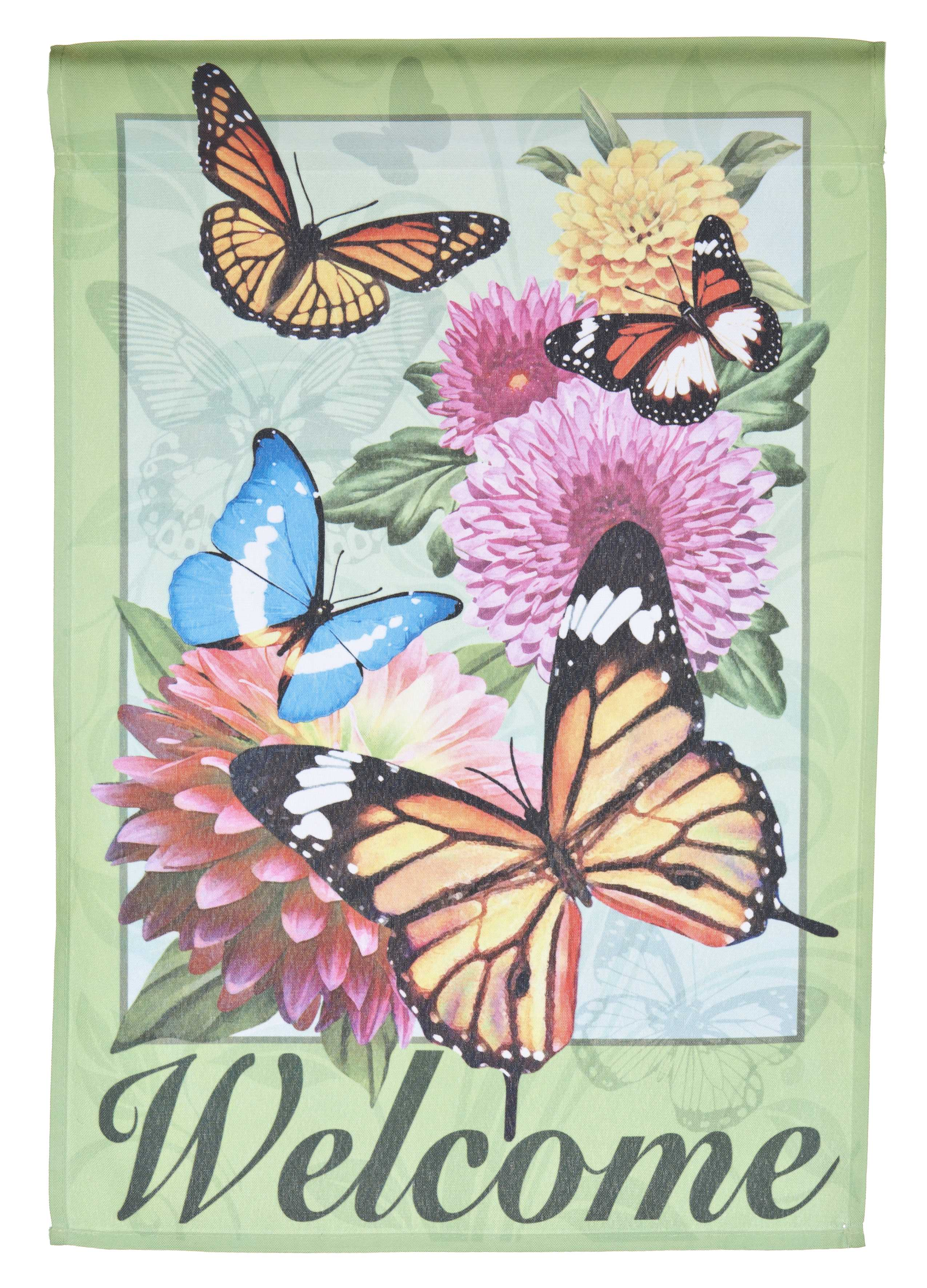 Welcome Lawn Flag w  Butterflies & Flowers by Garden Accents (12 x 18 Inch) by