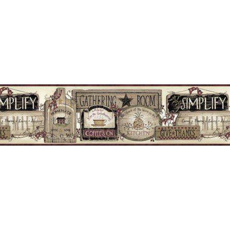 Signs Die Cut Wall Border - Brewster Home Fashions Borders by Chesapeake Alfred Gathering Room Signs 15' x 6.66 '' Scenic 3D Embossed Border Wallpaper