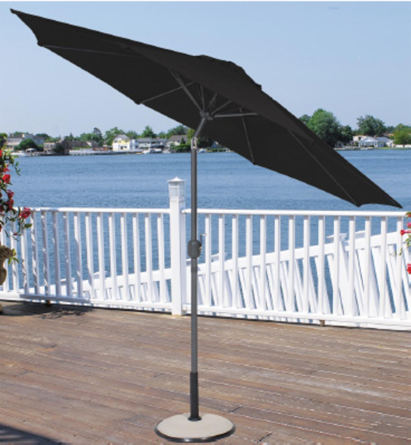 9' Outdoor Patio Market Umbrella with Hand Crank and Tilt - Hunter Green & Black