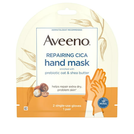 Aveeno Repairing CICA Hand Mask, Oat & Shea Butter, 1 Pair of Gloves