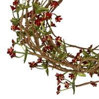 Mini Floral Garland: Red/Green, 5 feet