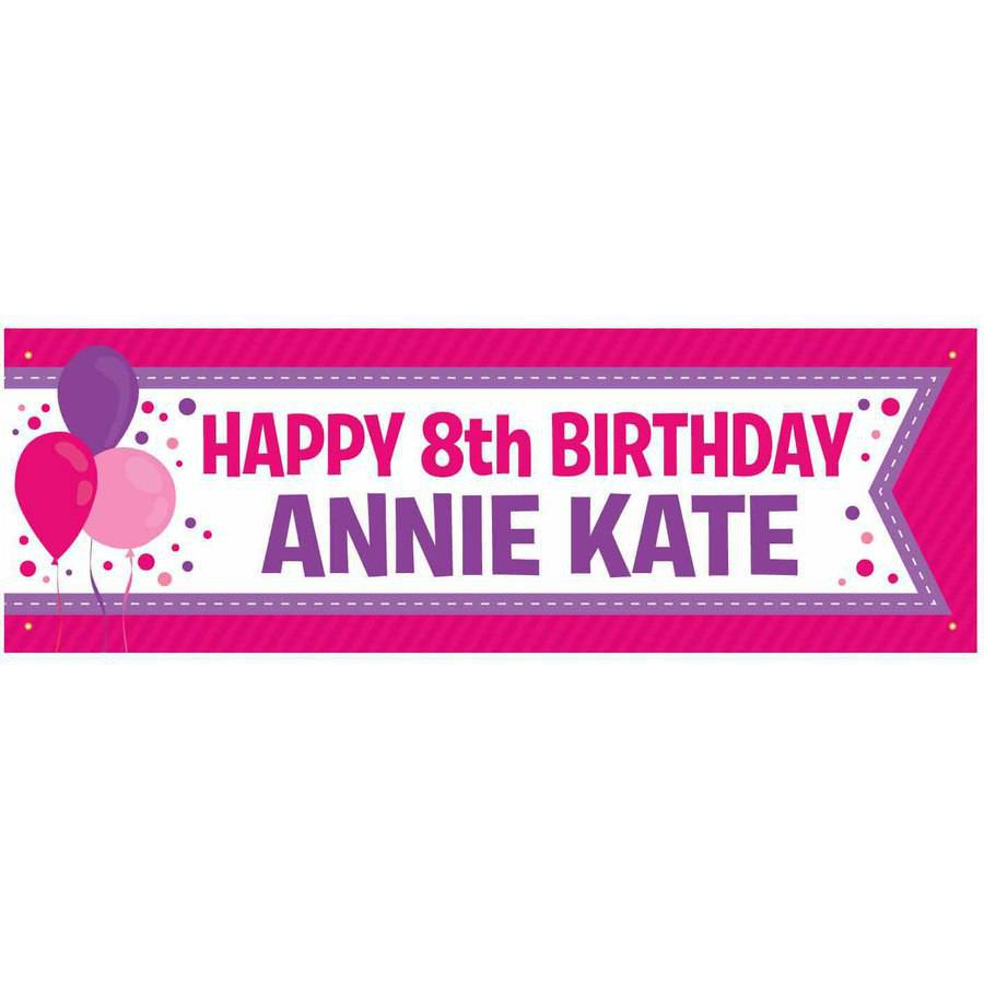 Personalized Birthday Banner, Pink and Purple