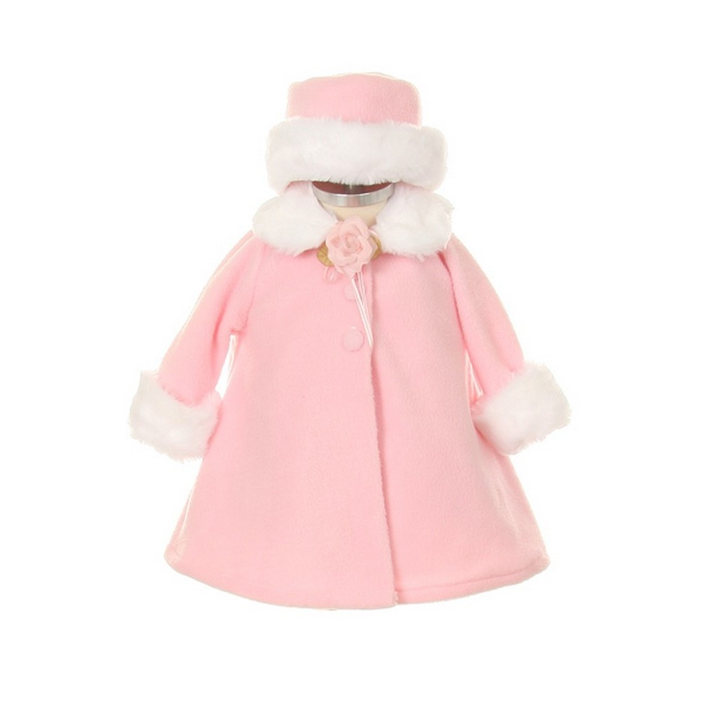 45a88bbaae4b9 Kids Dream - Kids Dream Pink Fleece Faux Fur Collar Stylish Coat Baby Girl  6M - Walmart.com
