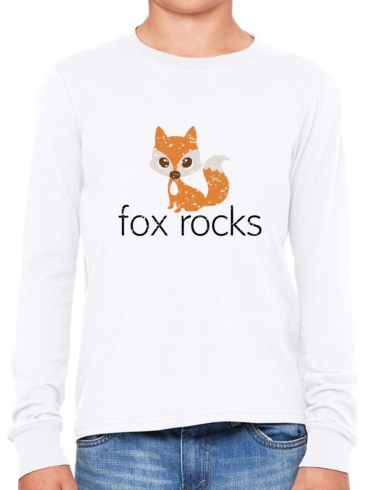 Fox Rocks - Cute Fox Graphic Design Girl's Long Sleeve T-Shirt