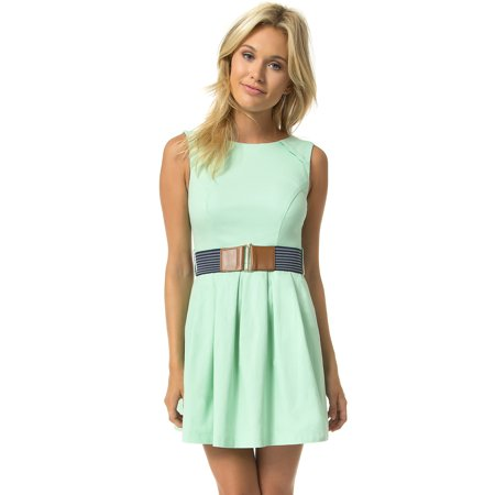 Teeze Me Sleeveless Belted Box Pleated Skirt Dress](Xl Teeze)
