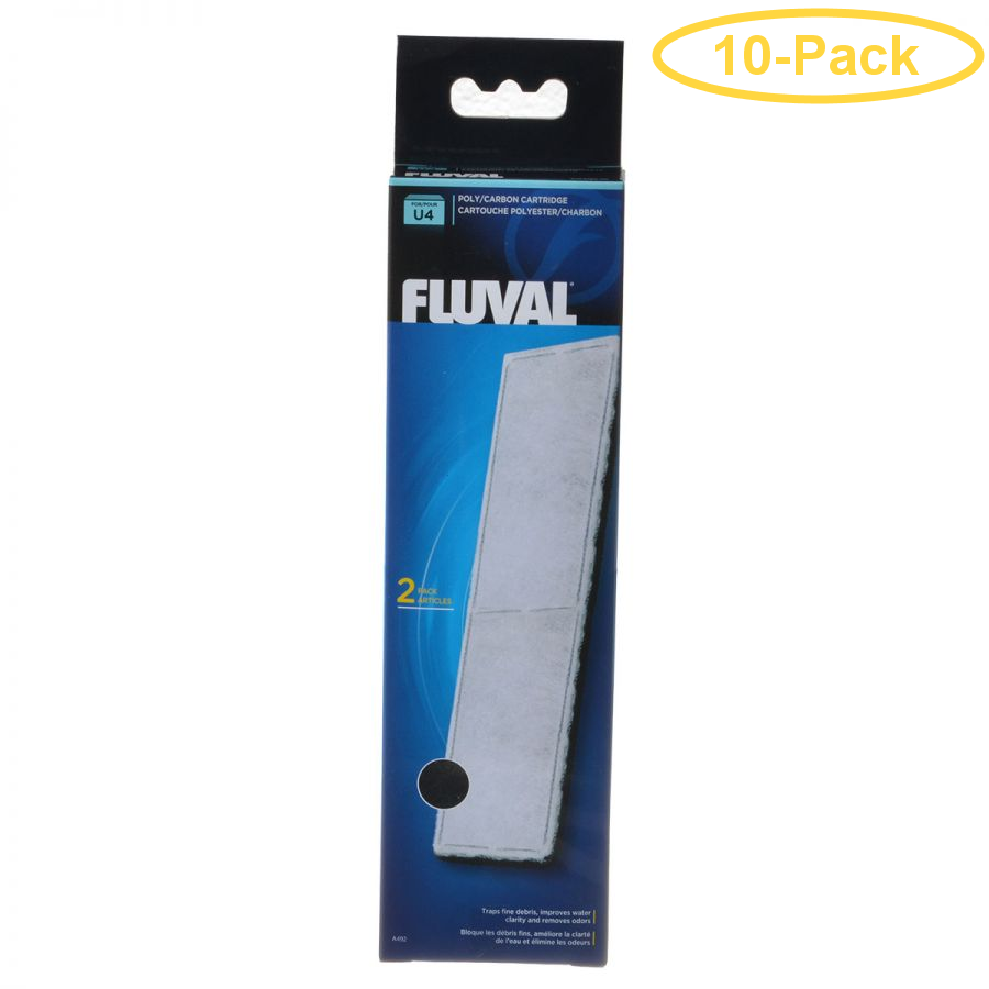 Fluval Underwater Filter Stage 2 Polyester/Carbon Cartridges U4 Filter Cartridge (2 Pack) - Pack of 10