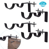2 Pairs Curtain Rod Brackets Set Double Curtain Rod Holders Easy No Drilling Tap Right into Window Frame for Rods Window Bedroom Decoration- Adjustable Curtain Rod Brackets