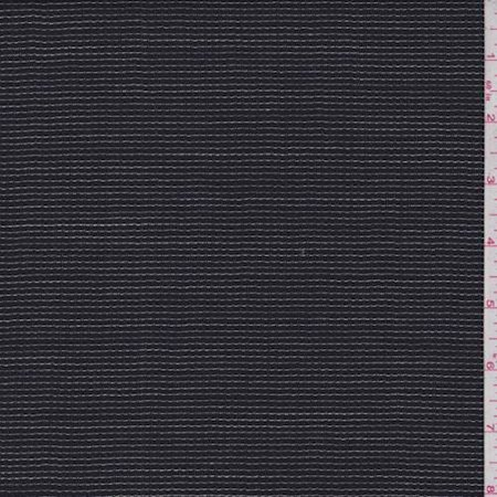 Dark Navy Check Wool Blend Suiting, Fabric By the Yard